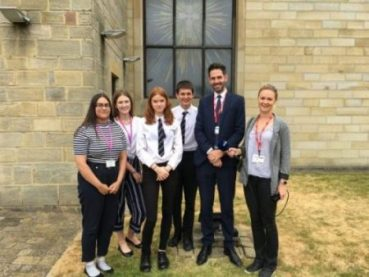 Alex Thompson from Newtons Solicitors and Students from St Aidan's school Harrogate.