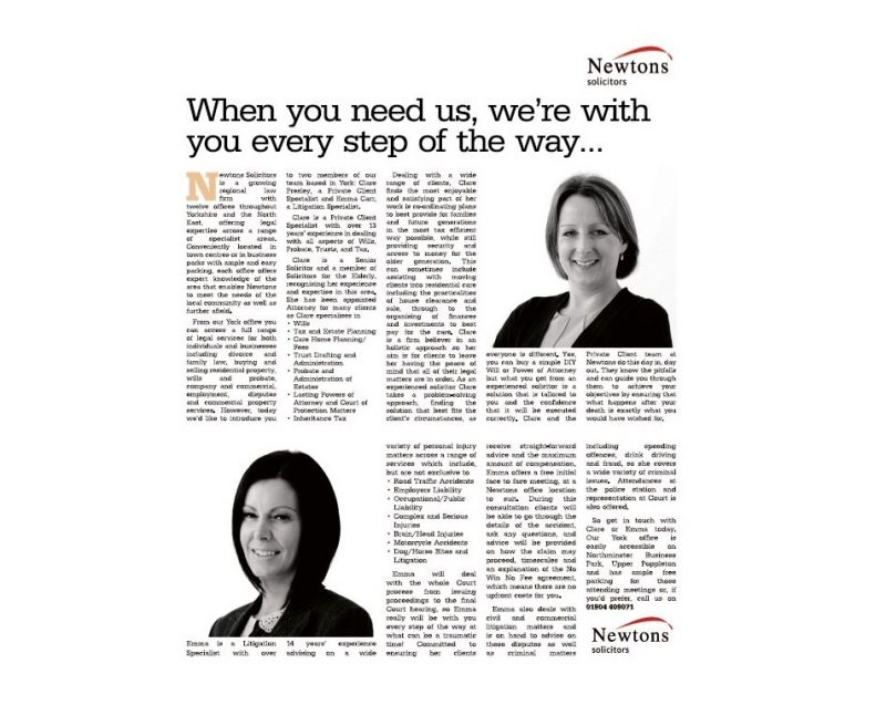Newtons Solicitors Legal Advice in the Yorkshire Evening Post