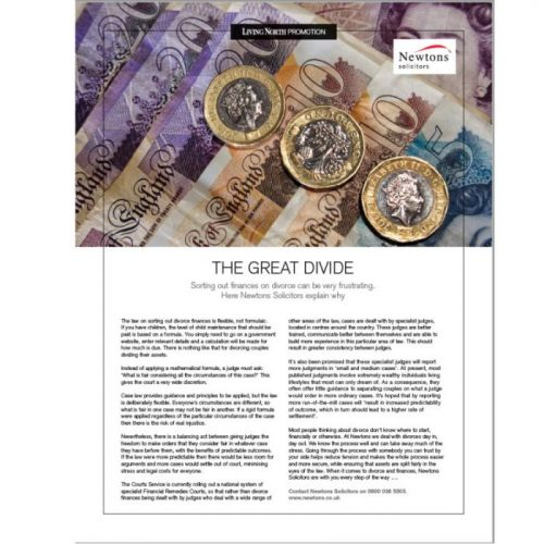 Financial Settlements in Divorce article by Newtons Solicitors featured in Living North Yorkshire publication.